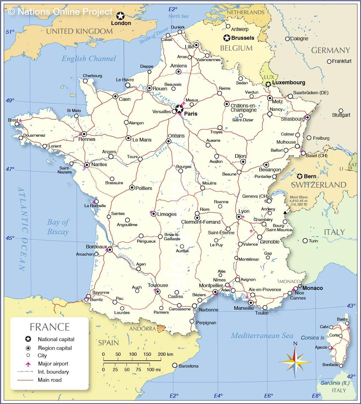 flygplatser i frankrike karta Internationella flygplatser i Frankrike karta   Frankrike  flygplatser i frankrike karta
