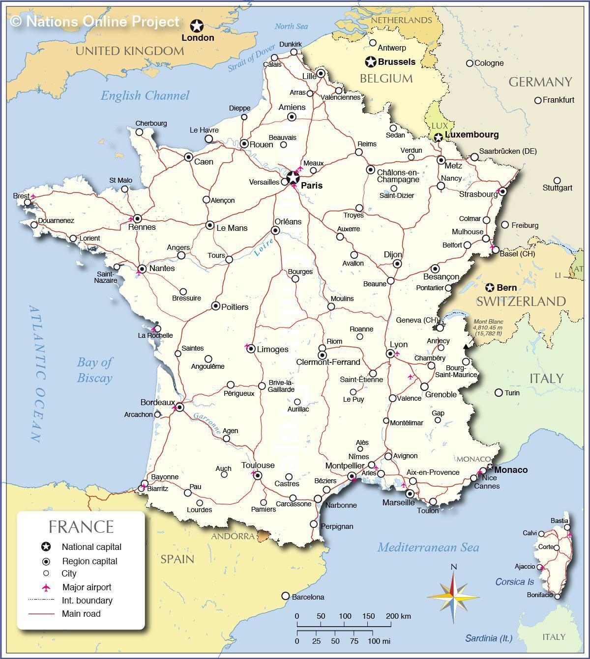 Karta Lander I Europa.Karta Over Frankrike Och Omgivande Lander Karta Over Frankrike Och
