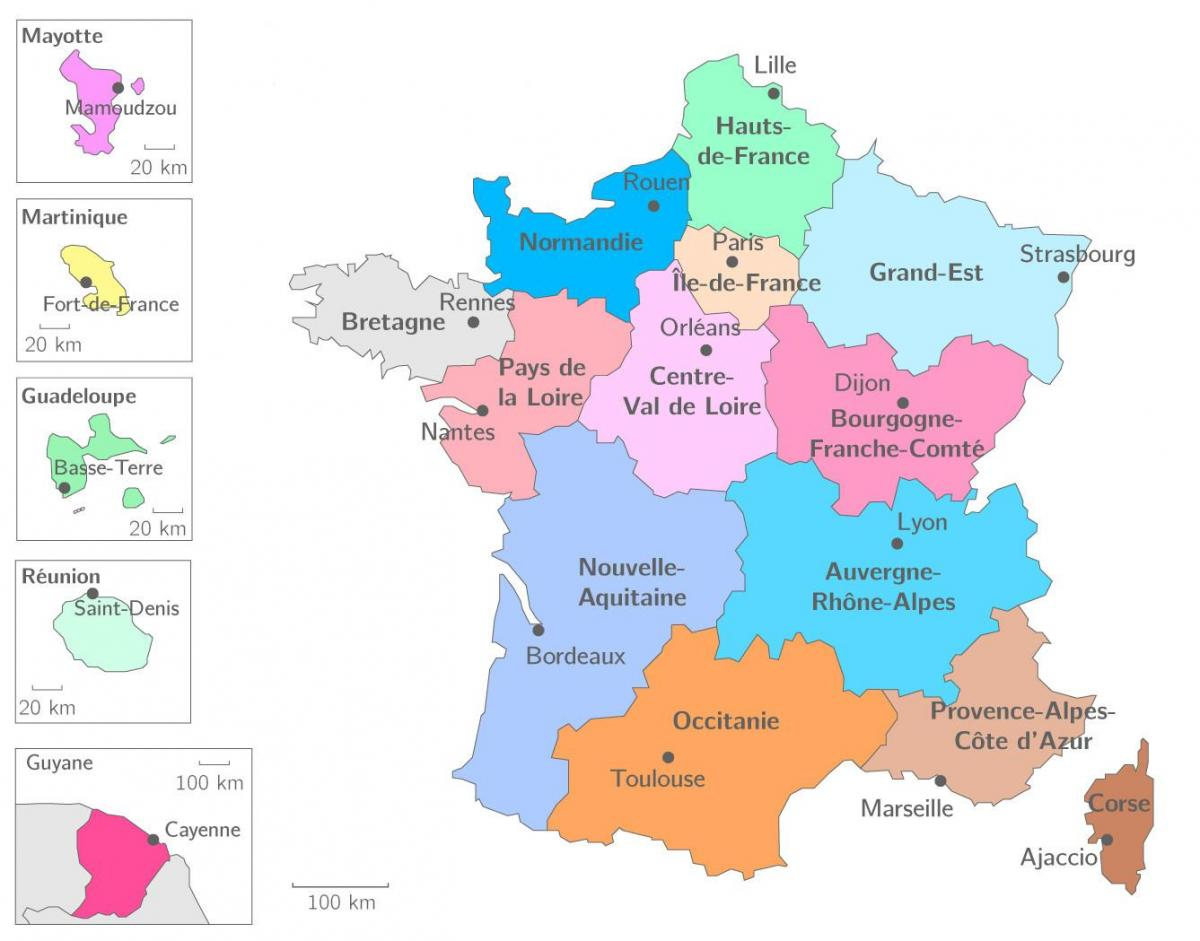 frankrike regioner karta Frankrike region karta   Karta regionen i Frankrike (i Västra  frankrike regioner karta