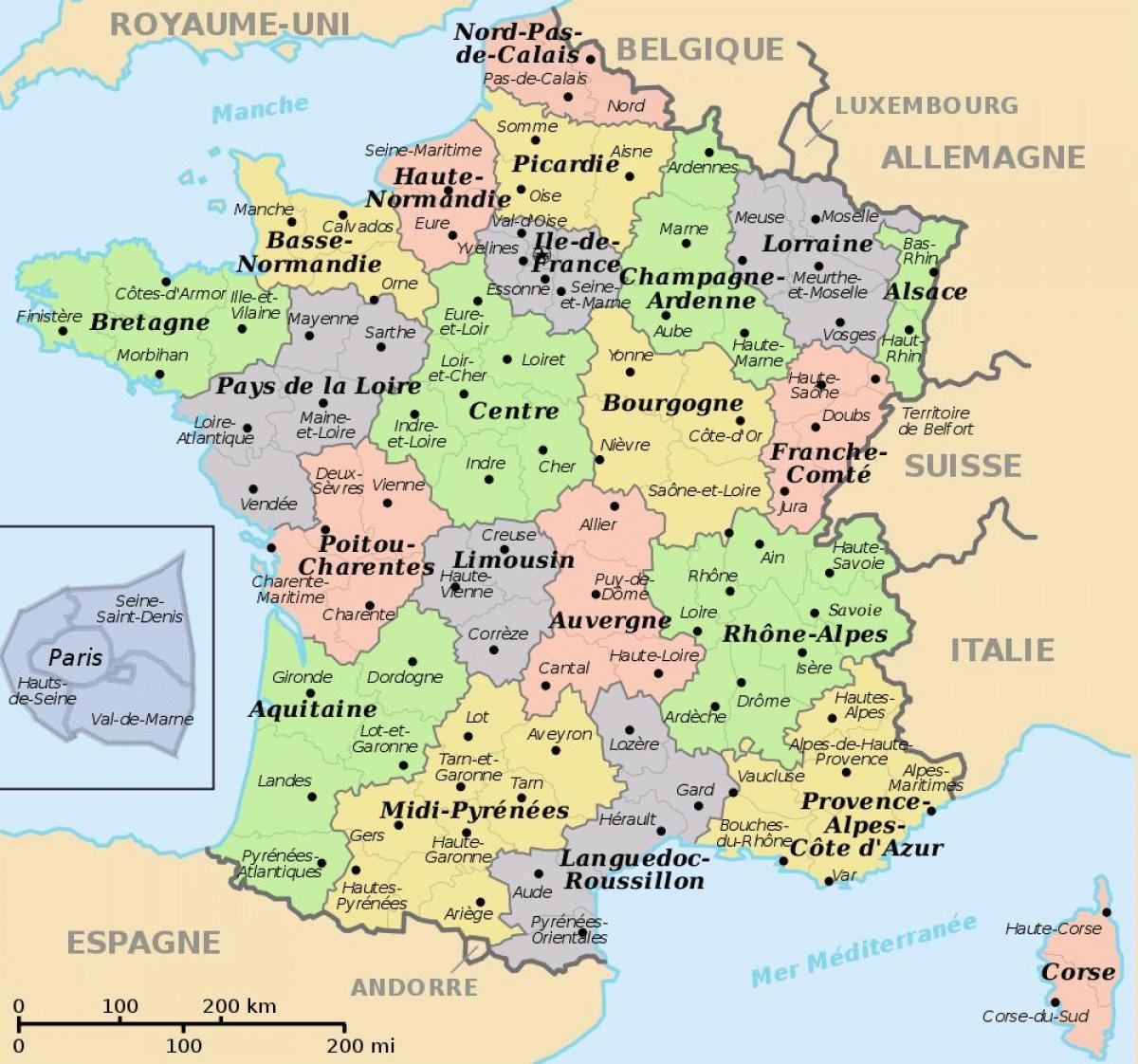 regioner i frankrike karta Regioner i Frankrike karta   Karta över Frankrike och regioner  regioner i frankrike karta