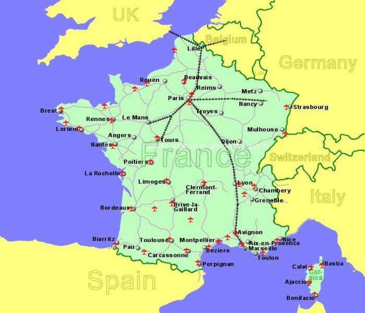 flygplatser i frankrike karta Södra Frankrike flygplatser karta   Flygplatser södra Frankrike  flygplatser i frankrike karta